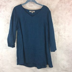 Flax blue linen blouse small